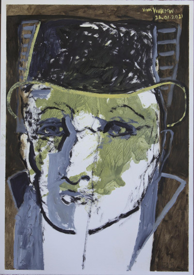 The green face with pork pie hat