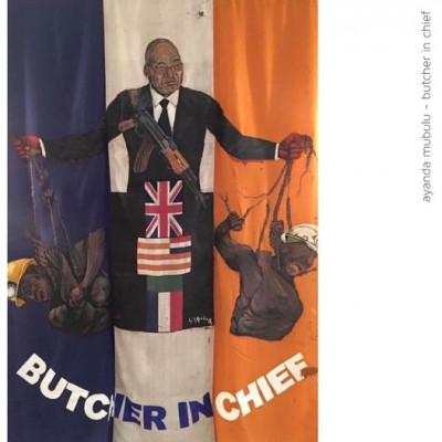 Butcher in Chief. Oil on SA flag